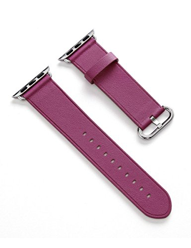 Apple Watch Band, Aisun® Vintage Embossed Genuine Leather strap Wrist Band Replacement with Metal Clasp for Apple Watch All Models (Fuchsia 38mm) 2