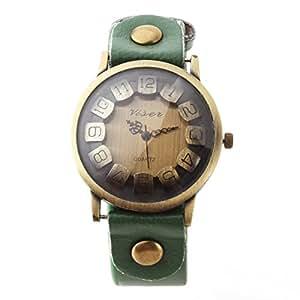 Yesurprise Montre quartz Vintage Bracelet en cuir Classique Bronze Saillant cadran 6 couleurs 7018-5