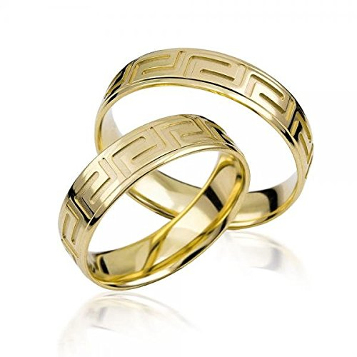585Yellow gold wedding Rings with Engraving Set of 2