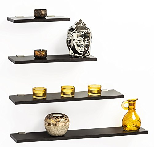 Bluewud Wall Shelf & Display Rack - Stellar Series (Wenge, 4 inch Wide, Set of 4)