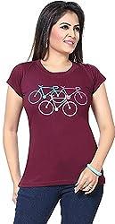 Prova Women's Regular Fit T-Shirt(Ts-204B, Maroon, Large)