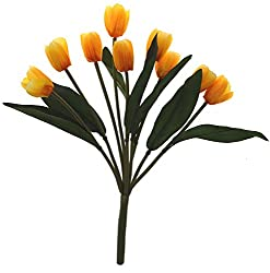 Fourwalls Artificial Tulip Bunch (9 Heads, Tall, Yellow)
