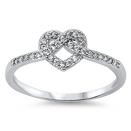 Infinity Knot Heart Love Clear CZ Promise Ring .925 Sterling Silver Size 7 (RNG14395-7)