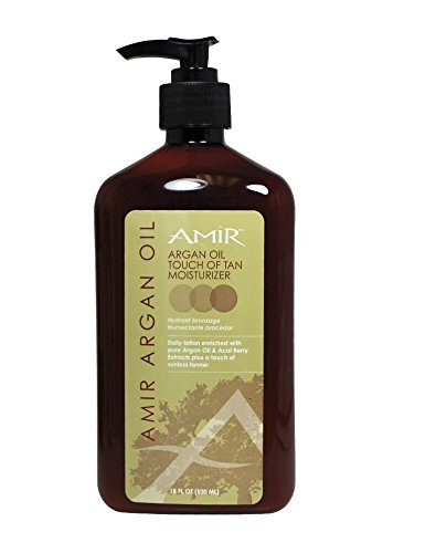 """Amir Argan Oil NEW """"Touch Of Tan"""" Body Moisturizer Lotion 18 fl.oz - (Mega Size) with Acai Berry Extract."""
