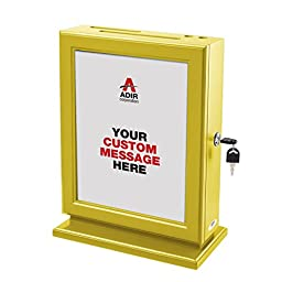 Adir Customizable Wood Suggestion Box - Yellow - with a Free Pack of Refill Suggestion Box Cards (25 Ct.)