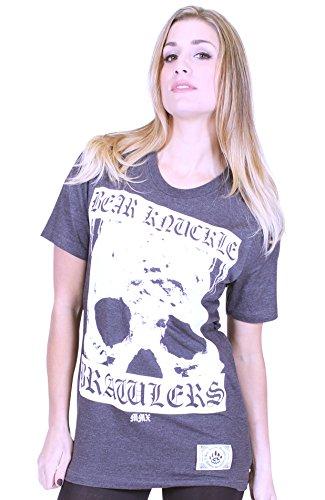Bear Knuckle Brawlers-Maglietta da donna Biker Dunkelgrau Melliert Medium