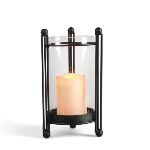 Gerson 10-Inch Black Metal and Glass Table Top Candle Holder with Hurricane Glass and 3 by 6-Inch Indoor/Outdoor LED Candle Gerson B00FX8IXPI