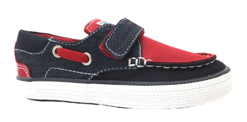 Boy's Nelion Gioseppo Navy/red Flat Velcro Canvas Boat Shoes