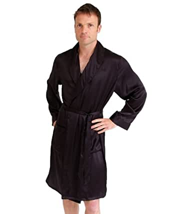 Short silk men 39 s dressing gown the house of for Mens silk shirts amazon