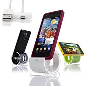 Sinjimoru Sync Stand Charge Dock Cradle for Samsung Galaxy S4, S3, S2 & Other MicroUSB Devices(WHITE)