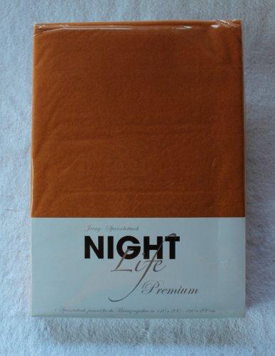 NightLife Jersey Spannbettlaken Farbe zimt gelb Größe 180 x 190 bis 200 x 200 cm Spannbettuch Spannlaken mit Rundumgummi 100% Baumwolle