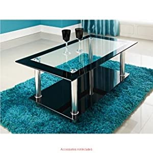 Phoenix rectangular clear black glass coffee table amazon for Coffee tables amazon