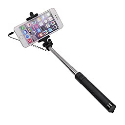 Turf Selfie Stick Wired Monopod Handheld Extendable Self Portrait for iPhone 6S 6 Plus, iPhone 5S 5, Samsung Galaxy S6 S5, Android (Black)