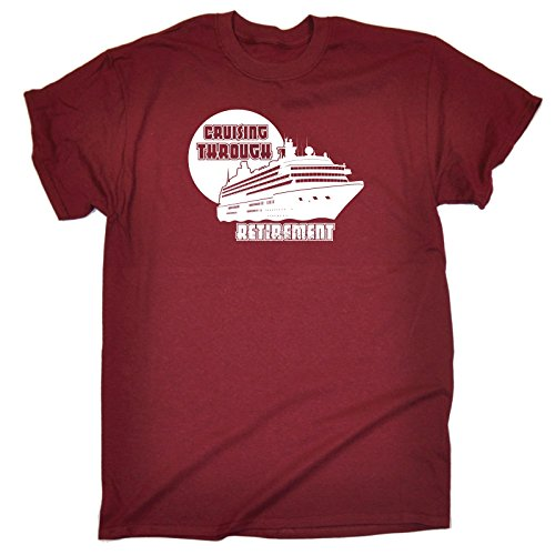 123t-Slogans-Mens-CRUISING-THROUGH-RETIREMENT--SHIP-DESIGN-LOOSE-FIT-T-SHIRT