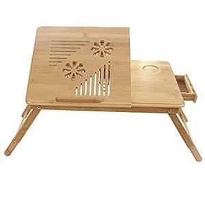 Songmics Neu Laptoptisch Betttisch Notebook Lese Tisch aus Bambus mit Kühler 55 x 35 cm LLD003