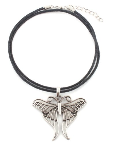 Ladies Silver Winged Butterfly Pendant with a 20 Inch Adjustable Rubber Chord Necklace