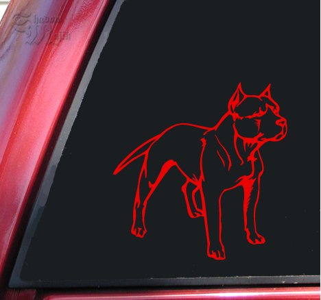 Pit Bull / Pitbull Full Body Vinyl Decal Sticker - Red (Red Bull Window Decal compare prices)