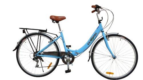 Ecosmo Bicicletta pieghevole da città da donna 7 SP Shimano -26ALF08B, da 66 cm