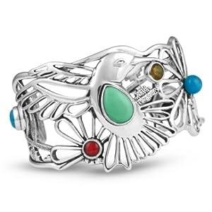 Southwest Spirit Fritz Casuse Sterling Silver Multi-Gemstone Hummingbird Cuff Bracelet
