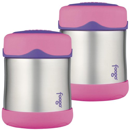 Thermos Foogo Leak-Proof Stainless Steel Food Jar, 10 Ounce - 2 Pack (Pink) front-827140