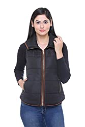 Trufit Sleeveless Solid Women's Black Suede Piping Golden zip Polyetser Polyfill Jacket