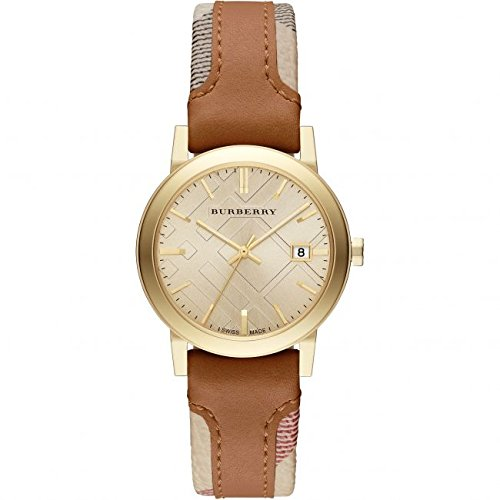 Ladies Burberry The City Engraved Check Watch BU9133