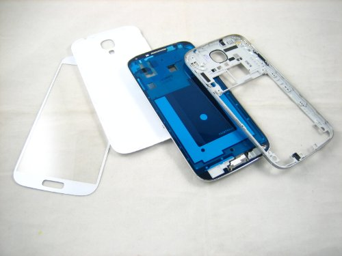 For Samsung Galaxy S4 SIV GT-i9500 White ~ Full Cover Housing+Front Glass Screen ~ Mobile Phone Repair Part Replacement (Samsung S4 Back Cover Replacement compare prices)