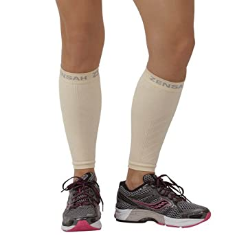 Zensah  Compression Leg Sleeves, Beige, Large/X-Large