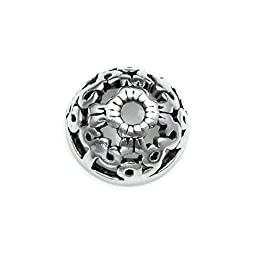 Dreambell 2 pcs Bali .925 Sterling Silver 7mm Round Filigree Flower Enthic Pattern Pearl Bead Cap Cover / Findings / Anqtique