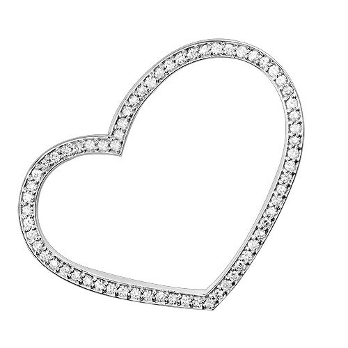 Large Thin Open Heart Tilted Pendant in Sterling Silver with Cubic Zirconias CZ Picture