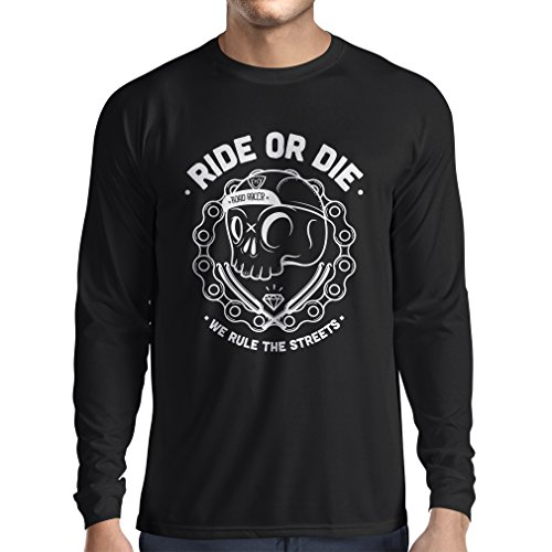N4611L T-shirt manica lunga da uomo Ride or Die (Medium Nero Multicolore)