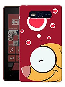 "Humor Gang Dog In Red Heart Printed Designer Mobile Back Cover For ""Nokia Lumia 820"" (3D, Matte, Premium Quality Snap On Case)"