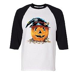 Halloween Friends Dressed Pumpkin Raglan Baseball T-Shirt