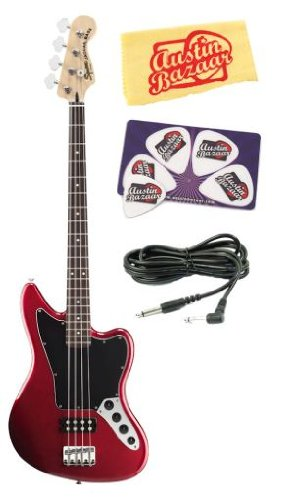 Squier by Fender Vintage Modified Jaguar Bass Special HB Bundle with 10-Foot Instrument Cable, Pick Card, and Polishing Cloth - Candy Apple Red, Rosewood Fretboard