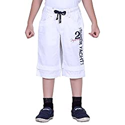 Naveens White 3/4 Th Printed Capri for Boys_ 9-10 Years