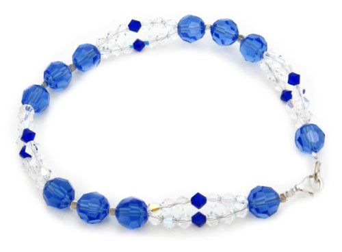 AM6308 – Unique 925 silver and Swarovski Crystal Elements TM Bracelet by Dragonheart – 20cm – Sapphire Blue and Clear
