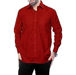 VinaraTrends Red Color Poly Cotton Shirt For Men (40)