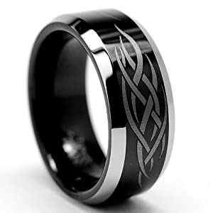 8MM Black Men's Tungsten Ring with Laser Etched Tribal Design Size 12