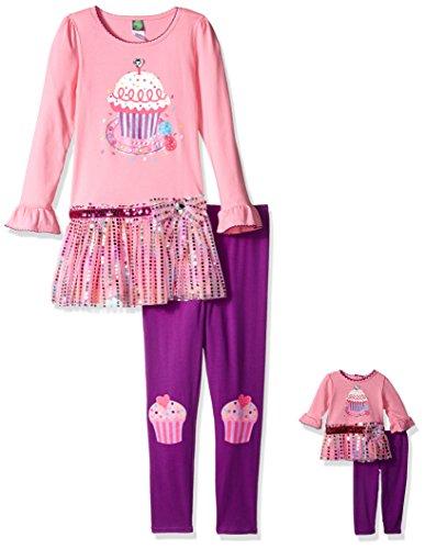 Dollie & Me Little Girls' Knit Tutu Cupcake Birthday Dress with Knit Legging, Pink/Purple, 6X