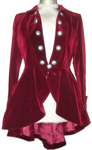 Burgundy - Elegant Velvet Gothic or Victorian Vintage Regency Flounce Style Jacket In Sizes 10-12