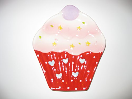 NEW Cupcake Design Plate Kitchen Utensil Spoon Rest Holder Stove Counter Top, Red (Cupcake Spoon Rest compare prices)