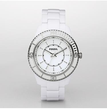 Fossil Women's ES2442 White Enamel Bracelet White Analog Dial Watch