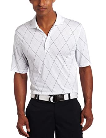IZOD Men's Short Sleeve Printed Argyle Polo, White, Small