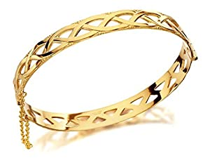 F.Hinds Womens Jewellery Jewelry Rolled Gold Celtic Weave Bangle Love Relationship Bracelet Fashion Perfect Gift