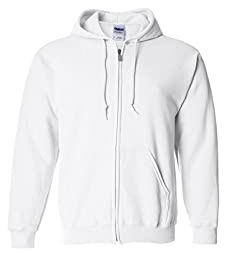 Gildan Adult Heavy Blend Full-Zip Hooded Sweatshirt (White) (Large)