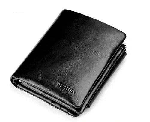 Besdel-Mens-Trifold-Genuine-Leather-Wallet-Largeblack