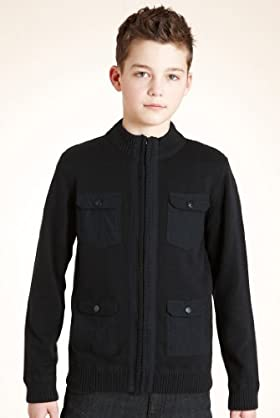 Boys' Limited Pure Cotton Zip Through Cardigan