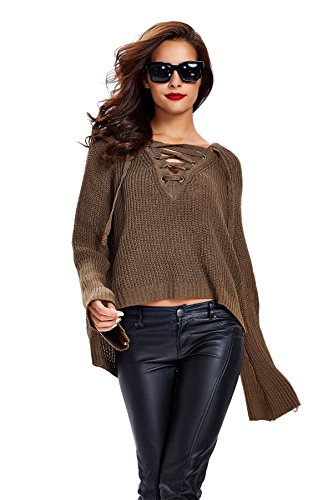 Apparel Women's Long Flare Sleeve Lace up V Neck High Low Knit Sweater, Olive, (One Size)