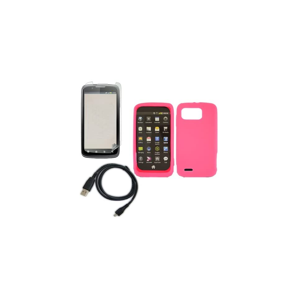iFase Brand Motorola MB865/Atrix 2 Combo Solid Hot Pink Silicone Skin Case Faceplate Cover + LCD Screen Protector + USB Data Charge Sync Cable for Motorola MB865/Atrix 2