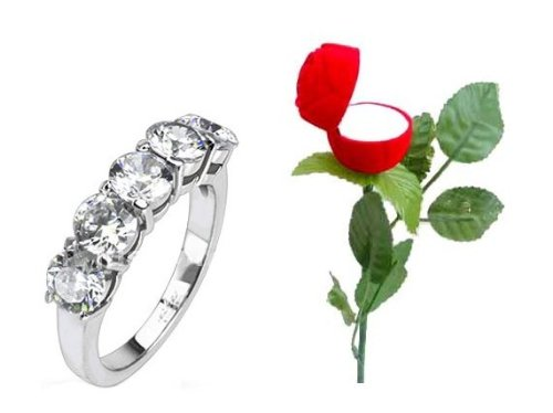 Gorgeous Valentine Gift For the One You Love, Lovely 5 Crystal Eternity Ring SIZE M or 6, Boxed In a Beautiful Red Rose Presentation Box With Stem